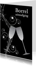 Uitnodigingen - Uitnodiging borrel champagne zilver