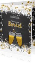 Uitnodigingen - Uitnodiging borrel stoer lief en goud