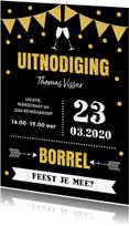 Uitnodigingen - Uitnodiging borrel typografie slinger goud confetti