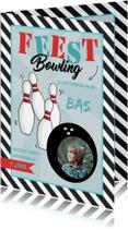 Kinderfeestjes - Uitnodiging Bowlingfeest streep