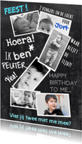 Kinderfeestjes - uitnodiging collage 2 jaar blauw