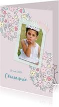 Communiekaarten - Uitnodiging communie bloemenillustratie
