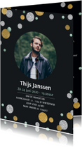 Uitnodigingen - Uitnodiging confetti groen zwart