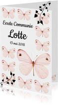 Communiekaarten - Uitnodiging Eerste Communie met lieve roze vlinders