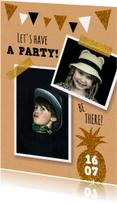 Uitnodigingen - Uitnodiging feestje slingers goud en glitter