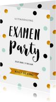 Uitnodigingen - Uitnodiging geslaagd feest confetti