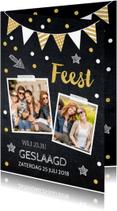 Uitnodigingen - Uitnodiging geslaagd feest foto slinger confetti