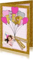 Kinderfeestjes - Uitnodiging glitter en glamour ballonnen en hartjes
