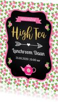 Uitnodigingen - Uitnodiging High Tea typografie bloemen
