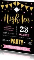 Uitnodigingen - Uitnodiging High Tea typografie slinger confetti goud roze