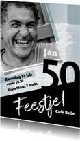 Uitnodigingen - Uitnodiging in blauw en zwart met foto