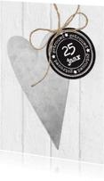 Jubileumkaarten - Uitnodiging Jubileum Zink Hart Stempel