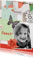 Kinderfeestjes - uitnodiging kinderfeest Roos