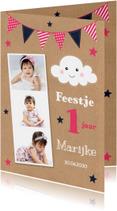 Kinderfeestjes - Uitnodiging kinderfeestje fotocollage kraft wolkje meisje