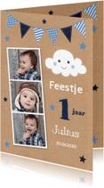 Kinderfeestjes - Uitnodiging kinderfeestje fotocollage slinger kraft blauw