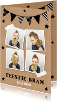 Kinderfeestjes - Uitnodiging kinderfeestje fotocollage slinger kraftprint