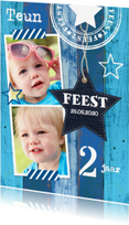 Kinderfeestjes - Uitnodiging kinderfeestje hout blauw - LB