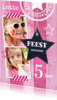 Kinderfeestjes - Uitnodiging kinderfeestje meisje roze hout - LB