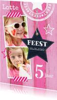 Kinderfeestjes - Uitnodiging kinderfeestje meisje roze hout