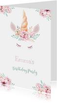 Kinderfeestjes - Uitnodiging kinderfeestje unicorn met waterverf bloemen