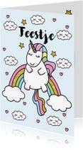 Kinderfeestjes - Uitnodiging Kinderfeestje Unicorn