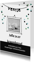 Uitnodigingen - Uitnodiging kraamborrel  ventje slinger confetti jongen