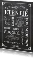 Uitnodigingen - Uitnodiging krijtbord etentje vis