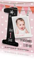 Kinderfeestjes - Uitnodiging meisje 1 jaar