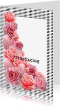 Uitnodigingen - Uitnodiging met roze rozen