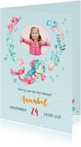Kinderfeestjes - Uitnodiging met zeemeermin + foto
