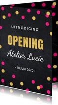 Uitnodigingen - Uitnodiging opening confetti roze LB