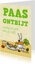 Paaskaarten - Uitnodiging Paasontbijt, -brunch, of -lunch Konijntje