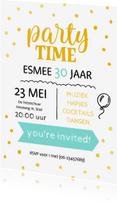 Uitnodigingen - Uitnodiging party time goudlook vrouw