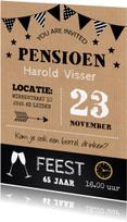 Uitnodigingen - Uitnodiging pensioen feest typografie kraft krijtbord