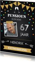 Uitnodigingen - Uitnodiging pensioen foto confetti krijtbord