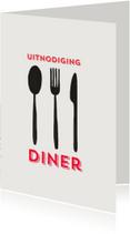 Uitnodigingen - Uitnodiging Spoon Fork Knive