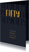 Uitnodiging stijlvol met gouden fifty en papierlook