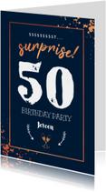 Uitnodiging stijlvol surprise party met spetters