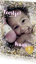 Kinderfeestjes - Uitnodiging stijlvolle fotokaart hartjes een bloemetjes