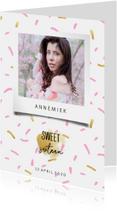 Uitnodigingen - Uitnodiging sweet sixteen met polaroid foto en confetti