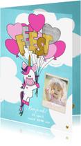 Kinderfeestjes - Uitnodiging trendy foto kaart met unicorn en ballonnen
