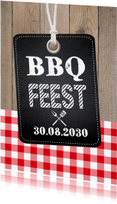 Uitnodigingen - Uitnodiging tuinfeest BBQ label hout krijtbord
