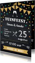 Uitnodigingen - Uitnodiging tuinfeest vlag confetti krijtbord - LB