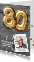 Uitnodigingen - Uitnodiging verjaardag 80 jaar ballon