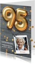 Uitnodigingen - Uitnodiging verjaardag 95 jaar ballon