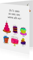 Uitnodigingen - Uitnodiging verjaardag EAT MORE CAKE CliniClowns
