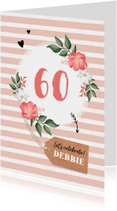 Uitnodigingen - Uitnodiging verjaardag vrouw hip met bloemen en label