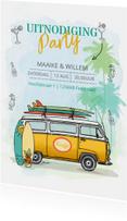 Uitnodigingen - Uitnodiging Volkswagenbusje surfplanken