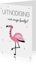 Kinderfeestjes - Uitnodiging: voor een kinderfeestje met flamingo