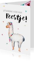 Kinderfeestjes - Uitnodiging: voor een kinderfeestje met lama